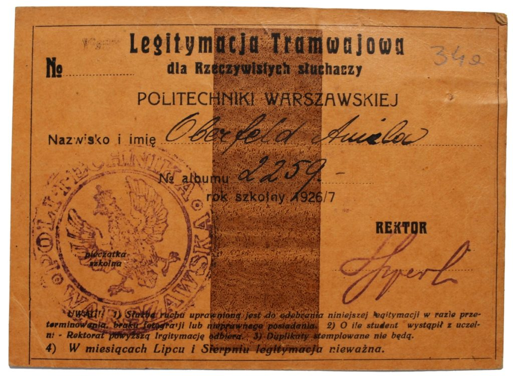 Aniela Oberfeld's tram card (source: State Archive in Płock, Poviat office in Płock, sign. 28), JewishPlock.eu