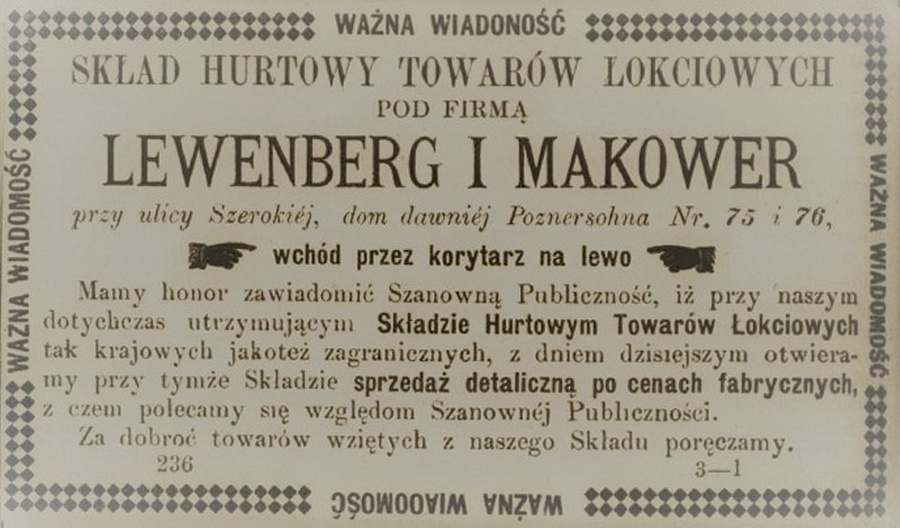Press advertisement of the Lewenberg and Makower Wholesale Warehouse, JewishPlock.eu