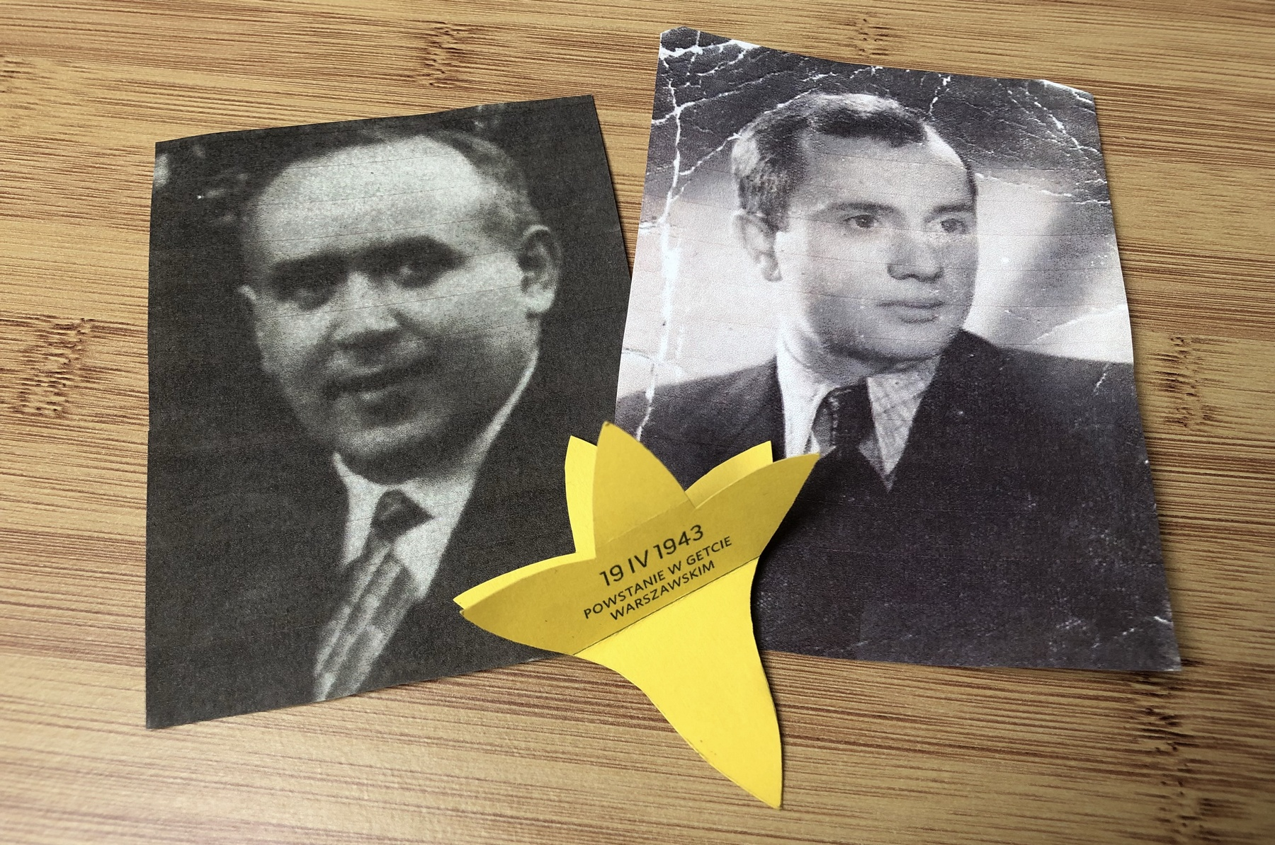 The 77th anniversary of the outbreak of the Warsaw Ghetto Uprising. Boruch Szpigel and Izaak Bernsztejn.