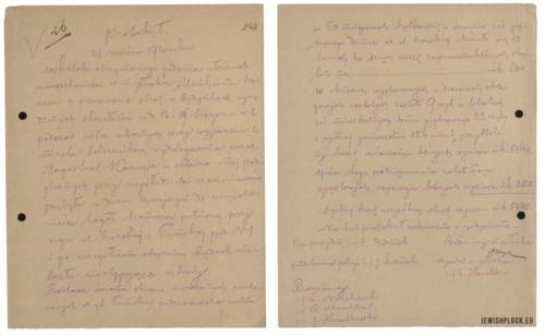 Protokół oszacowania strat w nieruchomości Manchajma Szenwica przy ulicy Kwiatka 1 odniesionych w wyniku walk ulicznych podczas wyparcia bolszewików z Płocka, z dnia 27 września 1920 roku