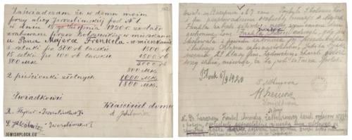 Zaświadczenie o zrabowaniu mieszkania Majera Frenkla przy ulicy Jerozolimskiej 1, pobiciu jego żony Chasi, próbie zamordowania 14-letniego Jakuba Frenkla - ucznia Gimnazjum Żydowskiego i zgwałcenia 15-letniej Sury Frenkiel przez bolszewików, z 5 września 1920 roku