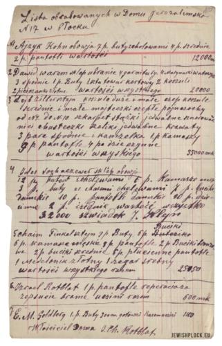 Spis obrabowanych przez bolszewików Żydów - mieszkańców domu przy ulicy Jerozolimskiej 17