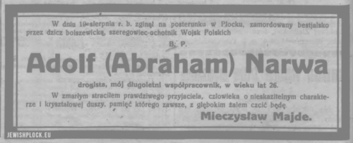 Information about the death of Adolf Narwa - a private-volunteer of the Polish Army, murdered by the Bolsheviks