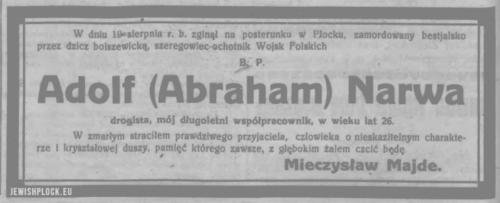 Informacja o śmierci Adolfa Narwy - szeregowca-ochotnika Wojsk Polskich, zamordowanego przez bolszewików