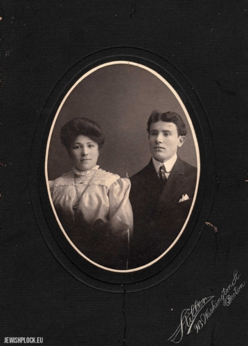 Mejer Lis (born in 1885 in Drobin; cousin of Hugra Maleńka; heemigrated to the United States in 1904) with his wife Dora, Boston, ca. 1910.