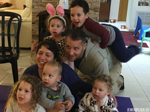 Back (left to right): Ya'ara and Addy; Middle (left to right): Keren and Ilan; Front (left to right): Naomi, Omer, and Netta. 27 December 2019, Israel