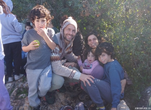 Family of David and Racheli Bomzon, left to right: Yotam, David, Racheli, Elia, and Itamar, Israel 2019