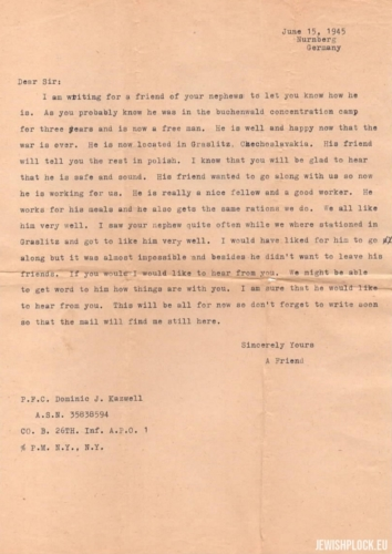 A letter written on behalf of  Samek Brygart to Herman Keller by an US soldier, 1945