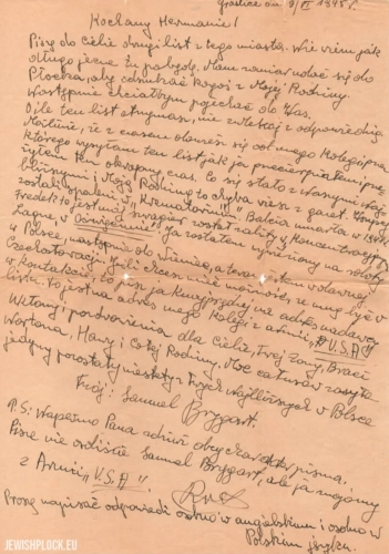 A letter from Samek Brygart to Herman Keller, 1945