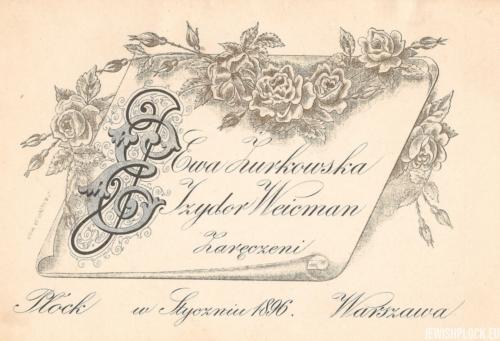 Karta zaręczynowa Ewy Żurkowskiej i Izydora Wajcmana, Płock 1896 rok