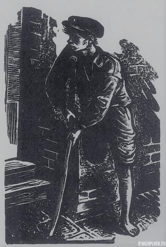 Fiszel Zylberberg, drzeworyt, Antek inwalida (źródło: www.zchor.org)
