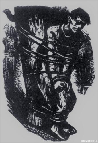 Fiszel Zylberberg, drzeworyt, Niewola (źródło: www.zchor.org)