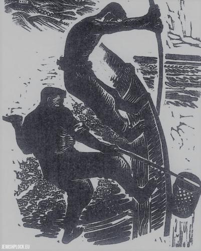 Fiszel Zylberberg, drzeworyt, Rybacy (źródło: www.zchor.org)