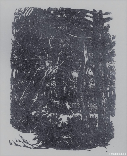Fiszel Zylberberg, woodcut, In the forest (source: www.zchor.org)
