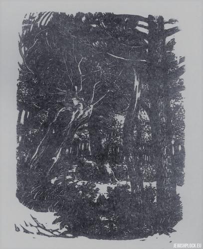 Fiszel Zylberberg, drzeworyt, W lesie (źródło: www.zchor.org)