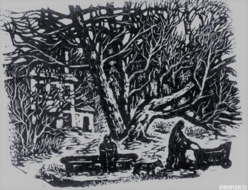 Fiszel Zylberberg, drzeworyt, W ogrodzie (źródło: www.zchor.org)