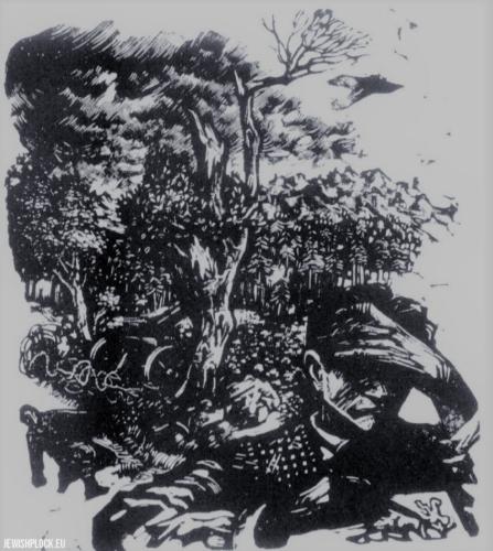 Fiszel Zylberberg, drzeworyt, Autoportret (źródło: www.zchor.org)