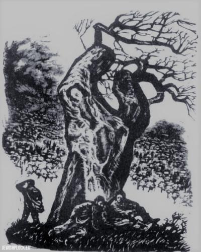Fiszel Zylberberg, drzeworyt, Cmentarz (źródło: www.zchor.org)