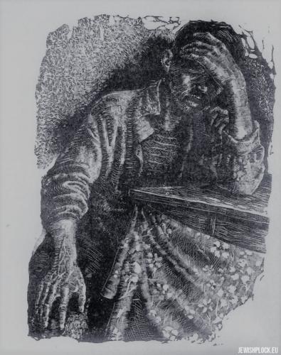 Fiszel Zylberberg, drzeworyt, Bezrobotny (źródło: www.zchor.org)