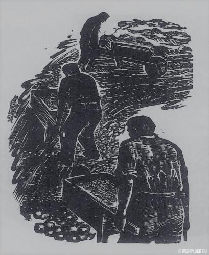 Fiszel Zylberberg, drzeworyt, Robotnicy (źródło: www.zchor.org)
