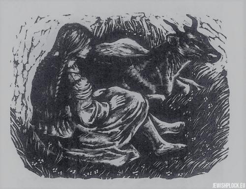 Fiszel Zylberberg, drzeworyt, Wiejska dziewczyna (źródło: www.zchor.org)