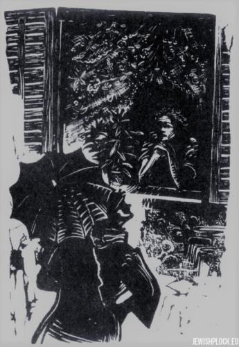 Fiszel Zylberberg, drzeworyt, Dziewczyna w oknie (źródło: www.zchor.org)