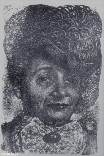 Fiszel Zylberberg, drzeworyt, Kobieta (źródło: www.zchor.org)