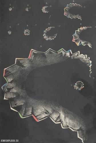 Aura - objaw zbliżającej się migreny, rysunek Edwarda Flatau pochodzący z książki poświęconej migrenie wydanej w 1912 roku. Źródło: Polona (domena publiczna)