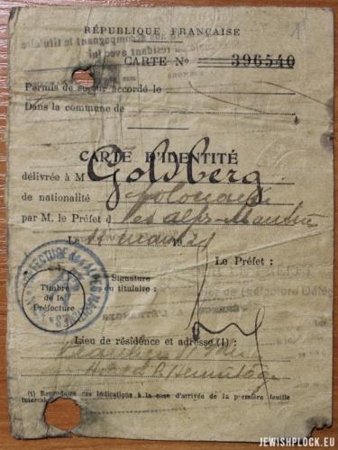 Paszport Adama Adolfa Goldberga (Archiwum Akt Nowych, Zbiór akt osobowych działaczy ruchu robotniczego, sygn. 16266)