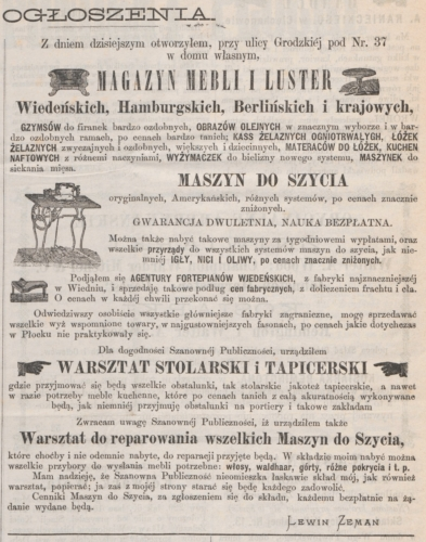 "Advertisement of Lewin Zeman's company (""Korrespondent Płocki"" No. 19 of February 24 / March 7, 1876)"