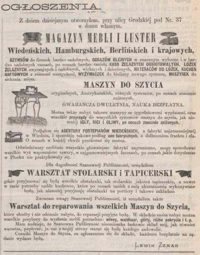 """Reklama firmy Lewina Zemana (""""Korrespondent Płocki"""" nr 19 z 24 lutego/7 marca 1876 roku)"""