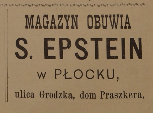 "Advertisement of Salomon Epstein's shoe store at 11 Grodzka Street (""Jednodniówka Noworoczna"", Płock 1916)"