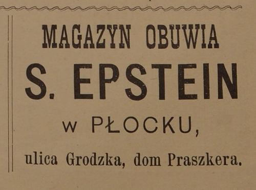 """Reklama magazynu obuwia Salomona Epsteina przy ulicy Grodzkiej 11 (""""Jednodniówka Noworoczna"""", Płock 1916)"""