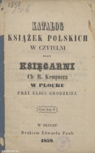 Catalog of Polish books in the reading room at the bookshop of Chaim Rafał Kempner in Płock at Grodzka Street (cover), 1858