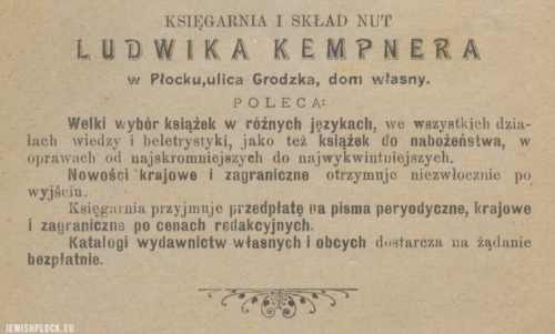 Advertisement of the bookshop and sheet music store of Ludwik Kempner at Grodzka Street