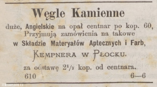 Reklama prasowa składu materiałów aptecznych i farb Kempnera przy ulicy Grodzkiej