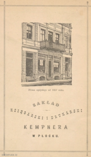 Advertisement of Ludwik Kempner's bookshop in Płock