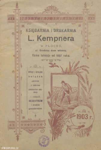 Book catalog (cover) of Ludwik Kempner's bookshop in Płock, 1903