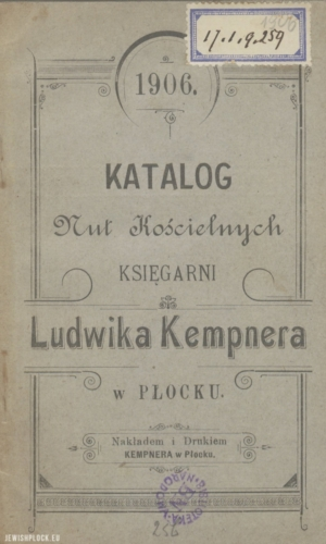 Catalog of church sheet music of the Ludwik Kempner bookshop in Płock (cover), 1906