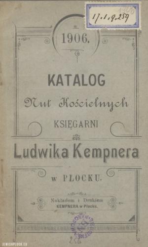 Katalog nut kościelnych księgarni Ludwika Kempnera w Płocku (okładka), 1906 rok