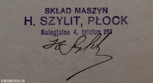 Stamp of Henoch Szylit's company, registered at 4 Kolegialna Street