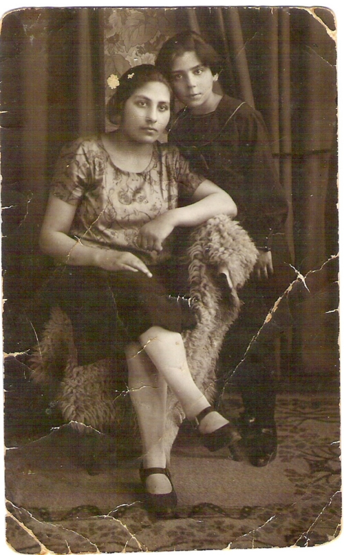 Rosa Fajga (standing) and Ryfka (sitting)