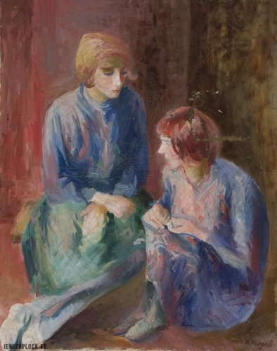 """Natan Korzeń, obraz """"Siostry"""" (źródło: http://cyfrowe.mnw.art.pl)"""