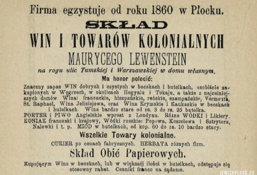 Reklama prasowa składu win i towarów kolonialnych Moryca Lewensteina