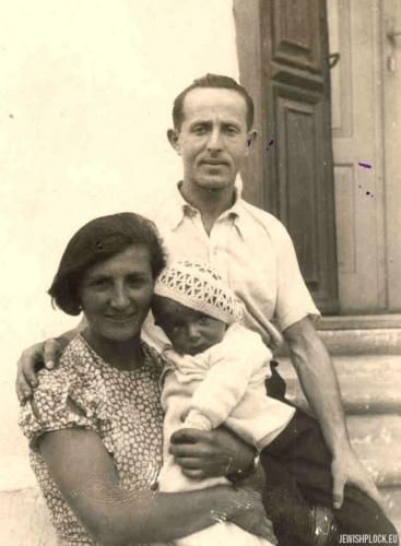 Rodzina Guterman: Symcha, Ewa z domu Alterowicz i Kuba, 1935 rok