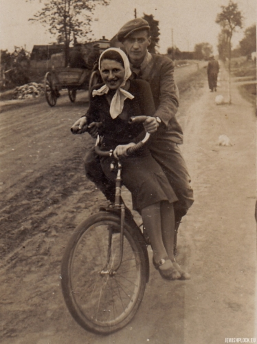 Lodka Chuczer on a bike with a friend named Heniek, 1939