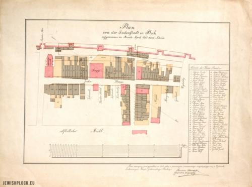 Plan von der Judenstadt in Plockaufgenommen im Monath Aprill 1803 durch Schmid (copy made by Kazimierz Staszewski in 1913, the Zieliński Library of Płock Scientific Society, reference number M 458)