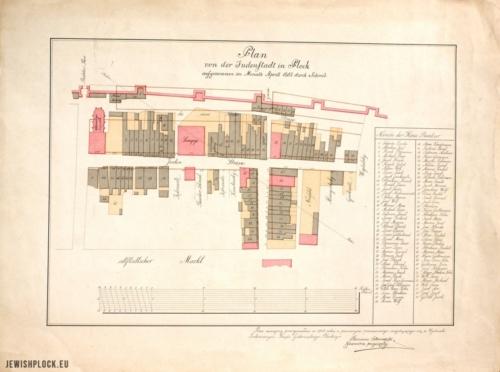 Plan von der Judenstadt in Plockaufgenommen im Monath Aprill 1803 durch Schmid (kopia wykonana przez Kazimierza Staszewskiego w 1913 roku, Biblioteka Naukowa TNP im. Zielińskich w Płocku, sygn. M 458)