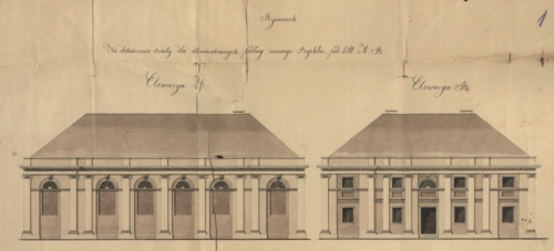 Design drawing of the Jewish school at Nowa St. in Płock from 1827 (State Archive in Płock, Files of the Town of Płock, reference number 886)