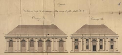 Rysunek na dokończenie szkoły dla Starozakonnych przy ul. Nowej w Płocku z 1827 roku (Archiwum Państwowe w Płocku, Akta miasta Płocka, sygn. 886)